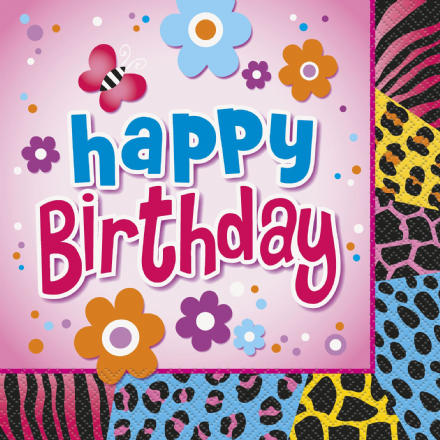 16 Wild Birthday Theme Paper Party Napkins